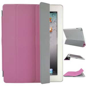 Fabulous Leather Smart Cover for iPad 3rd Generation The New iPad - Pink