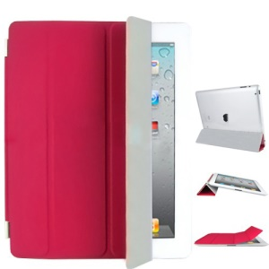 Fabulous Leather Smart Cover for iPad 3rd Generation The New iPad - Red