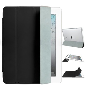 Fabulous Leather Smart Cover for iPad 3rd Generation The New iPad - Black