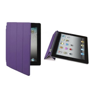 Fabulous Leather Smart Cover for iPad 3rd Generation The New iPad - Purple