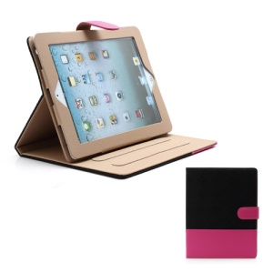Woven Pattern Contrasting Two-tone Magnetic Leather Stand Case for iPad 4 / 3 / 2 - Rose / Black