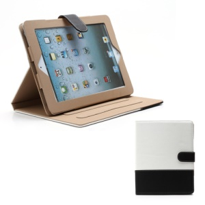 Woven Pattern Contrasting Two-tone Magnetic Leather Stand Case for iPad 4 / 3 / 2 - Black / White