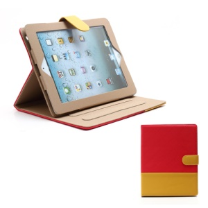 Woven Pattern Contrasting Two-tone Magnetic Leather Stand Case for iPad 4 / 3 / 2 - Yellow / Red