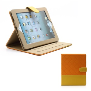 Woven Pattern Contrasting Two-tone Magnetic Leather Stand Case for iPad 4 / 3 / 2 - Yellow / Orange