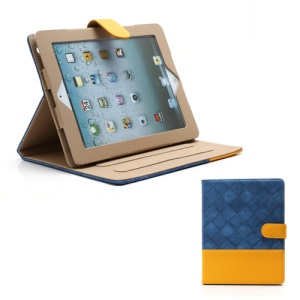 Woven Pattern Contrasting Two-tone Magnetic Leather Stand Case for iPad 4 / 3 / 2 - Yellow / Blue