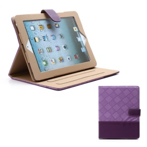 Woven Pattern Contrasting Two-tone Magnetic Leather Stand Case for iPad 4 / 3 / 2 - Dark Purple / Purple