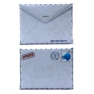 SAMDI Retro Envelope Leather Pouch Sleeve for iPad 4 / 3 / 2 / Samsung P7300 - Blue, Size:26cm x 19.5cm