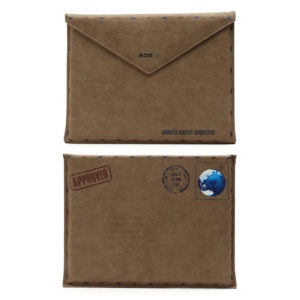 SAMDI Retro Envelope Postcard Leather Pouch Case for iPad 4 / 3 / 2 / Samsung P7300 - Brown, Size:26cm x 19.5cm