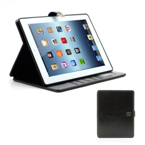 M Case Crazy Horse Leather Wallet Case Cover w/ Stand for iPad 4 / 3 / 2 - Black