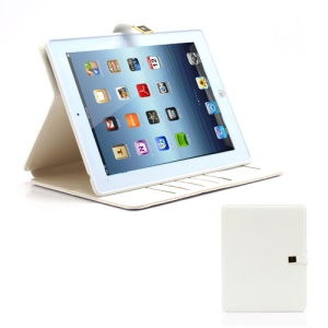 M Case Crazy Horse Leather Wallet Case Cover w/ Stand for iPad 4 / 3 / 2 - White
