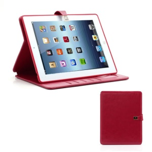 M Case Crazy Horse Leather Wallet Case Cover w/ Stand for iPad 4 / 3 / 2 - Red
