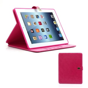 M Case Crazy Horse Leather Wallet Case Cover w/ Stand for iPad 4 / 3 / 2 - Rose