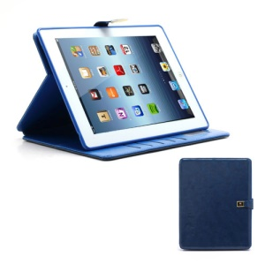 M Case Crazy Horse Leather Wallet Case Cover w/ Stand for iPad 4 / 3 / 2 - Blue