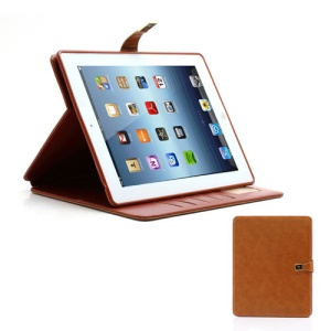 M Case Crazy Horse Leather Wallet Case Cover w/ Stand for iPad 4 / 3 / 2 - Brown