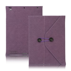 Jeans Cool Style Leather Case Handbag for New iPad 3rd 2nd 4th Generation - Purple
