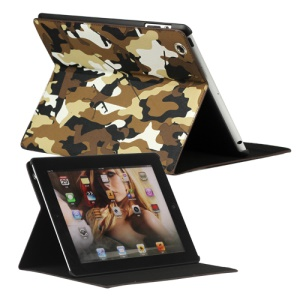 Camouflage Magnetic Leather Smart Cover Stand for New iPad 2 3 4 - Brown