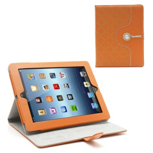 Stylish Shiny Diamante Stand Leather Skin Case for iPad 4 3 2 - Orange
