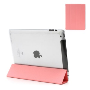 Pink Slim Magnetic Leather Smart Cover Wake/Sleep with Back Hard Plastic Case for iPad 2 / 3 / 4