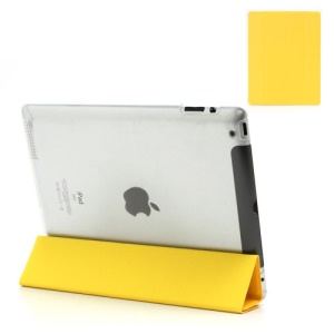 Yellow Slim Magnetic Leather Smart Cover Wake/Sleep with Back Hard Plastic Case for iPad 2 / 3 / 4