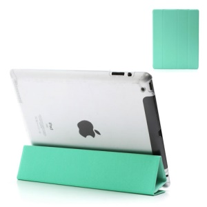 Cyan Slim Magnetic Leather Smart Cover Wake/Sleep with Back Hard Plastic Case for iPad 2 / 3 / 4