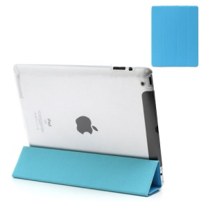 Blue Slim Magnetic Leather Smart Cover Wake/Sleep with Back Hard Plastic Case for iPad 2 / 3 / 4