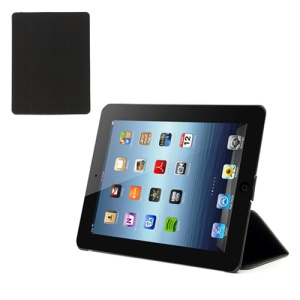 Black Toothpick Grain Leather Case Smart Cover Sleep Wake w/ Stand for iPad 2 / 3 / 4