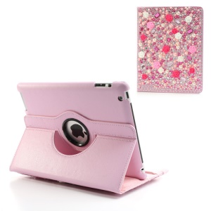 Sparkling Rhinestone Rose Pearl Folio Leather Case Stand for iPad 4 / 3 / 2 - Pink