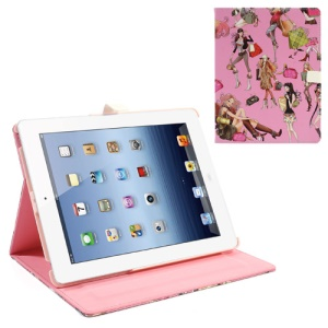 Sexy Girl with Handbag Leather Stand Case for iPad 4 / 3 / 2 - Pink Background