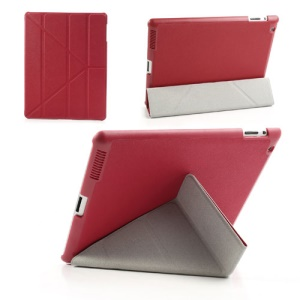 Red Unique Triangle Stand for iPad 2 3 4 Cross Pattern Leather Case