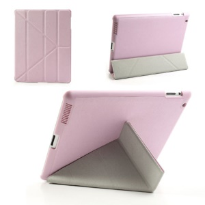 Pink Unique Triangle Stand for iPad 2 3 4 Cross Pattern Leather Case
