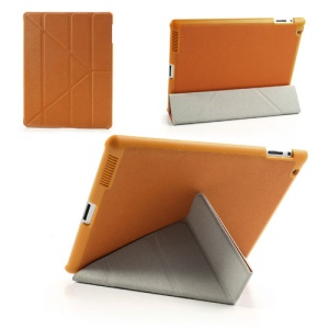 Orange Unique Triangle Stand for iPad 2 3 4 Cross Pattern Leather Cover