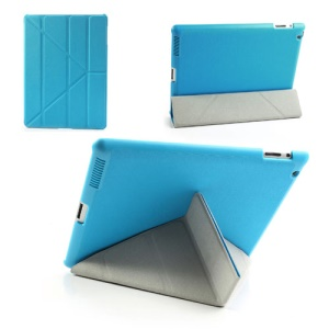 Blue Unique Triangle Stand for iPad 2 3 4 Cross Pattern Leather Shell Case