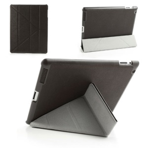 Brown Unique Triangle Stand for iPad 2 3 4 Cross Pattern Leather Shell Case