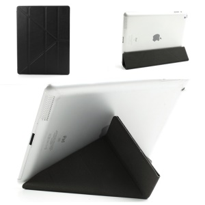 Black Slim PU Leather Smart Cover with Back Hard Plastic Case for iPad 2 / 3 / 4