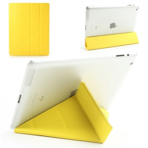 Yellow Slim PU Leather Smart Cover with Back Hard Plastic Case for iPad 2 / 3 / 4