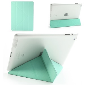 Cyan Slim PU Leather Smart Cover with Back Hard Plastic Case for iPad 2 / 3 / 4