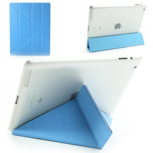 Blue Slim PU Leather Smart Cover with Back Hard Plastic Case for iPad 2 / 3 / 4