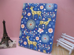 For iPad 4 / 3 / 2 Deer Floral Folio Leather Case with Stand