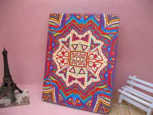 Psychedelic Aztec Totem Leather Cover Stand for iPad 4 / 3 / 2