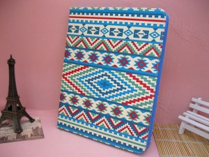 For iPad 4 / 3 / 2 Leather Case w/ Stand Tribal Stripe Pattern