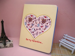 Love Bird Be My Valentine Folio Leather Case for iPad 4 / 3 / 2
