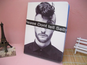 Please Dont Tell Selly Male Leather Case Stand for iPad 4 / 3 / 2
