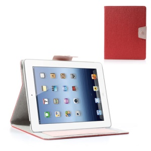 Ardium Toothpick Grain Wallet Leather Case for iPad 2 3 4 w/ Stand - Red