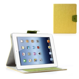 Ardium for iPad 2 3 4 Card Slots Leather Stand Case Toothpick Grain - Yellow