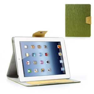 Ardium Toothpick Grain for iPad 2 3 4 Stand Leather Cover Wallet - Green