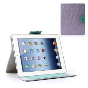 Ardium Toothpick Grain Wallet Leather Shield Stand for iPad 2 3 4 - Purple
