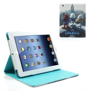 Comedy The Smurfs Leather Case w/ Stand for iPad 2 / iPad 3 / iPad with Retina Display