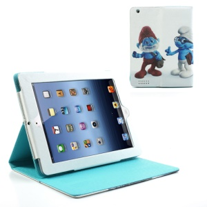 Papa Brainy Grouchy Surfette Smurfs Leather Cover for iPad 2 / iPad 3 / iPad 4