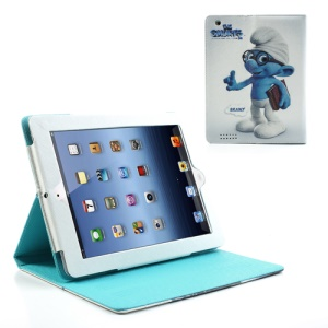 Brainy Smurf Leather Stand Case Cover for iPad 2 / iPad 3 / iPad with Retina Display