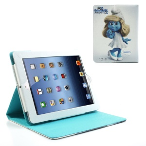 Pretty Smurfette Leather Stand Case for iPad 2 / iPad 3 / iPad with Retina Display